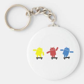 Skater androide coloreado multi llavero redondo tipo pin