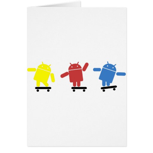 Skater androide coloreado multi tarjeta de felicitación