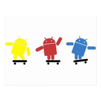 Skater androide coloreado multi postales