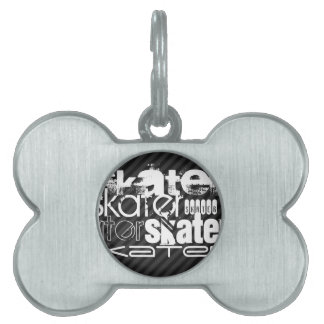 Skater; Black & Dark Gray Stripes Pet ID Tag