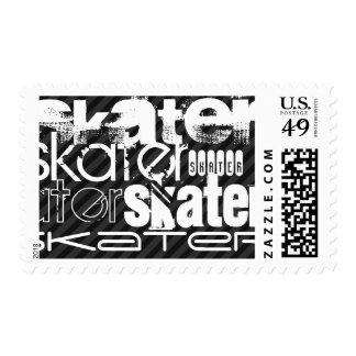 Skater; Black & Dark Gray Stripes Postage