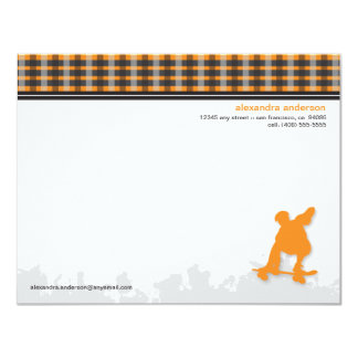 Skater Boy Customized Flat Note Cards (orange) Custom Announcement