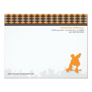 Skater Boy Customized Flat Note Cards (orange) Custom Announcement