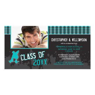 Skater Boy Modern Graduation Announcement aqua Photo Card