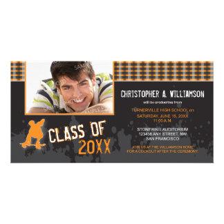 Skater Boy Modern Graduation Announcement orange Photo Card Template
