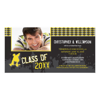 Skater Boy Modern Graduation Announcement yellow Photo Greeting Card