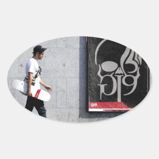 Skater Boy Oval Sticker
