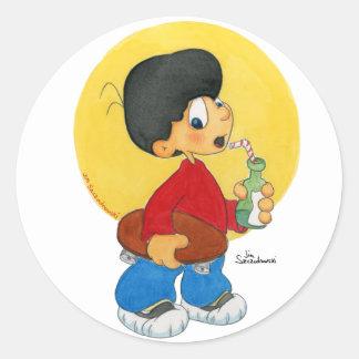 Skater Boy Classic Round Sticker