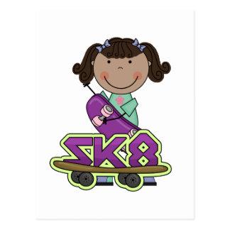 SKATER - camisetas afroamericanas del chica Tarjeta Postal