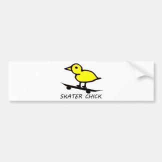 Skater Chick Car Bumper Sticker