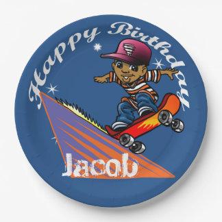 Skater del feliz cumpleaños platos de papel