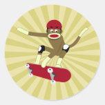 Skater del mono del calcetín etiqueta
