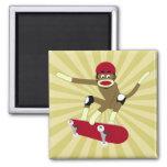 Skater del mono del calcetín imán de frigorífico