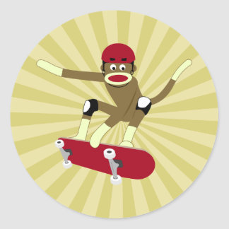 Skater del mono del calcetín pegatina redonda