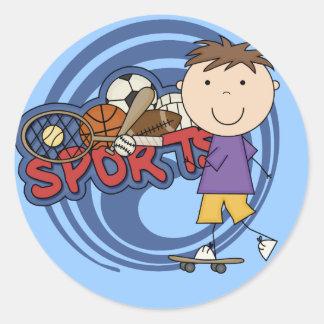 Skater del muchacho de los deportes - camisetas y pegatina redonda