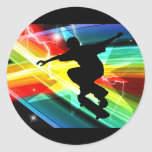 Skater en el relámpago cruzado de Criss Etiqueta Redonda