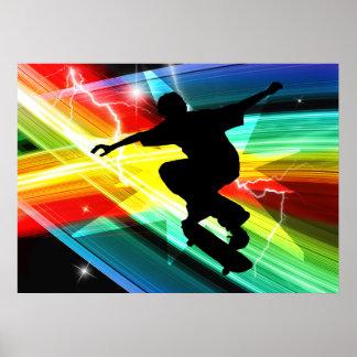 Skater en el relámpago cruzado de Criss Póster
