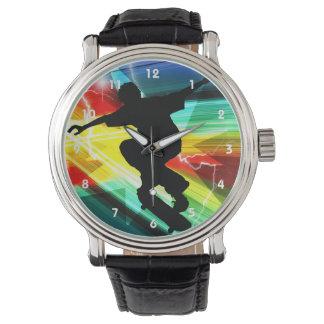 Skater en el relámpago cruzado de Criss Reloj De Mano