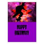 Skater en nubes cósmicas tarjeta de felicitación