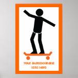Skater en su personalizado del monopatín poster