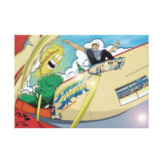 skater getting totally rad! canvas print