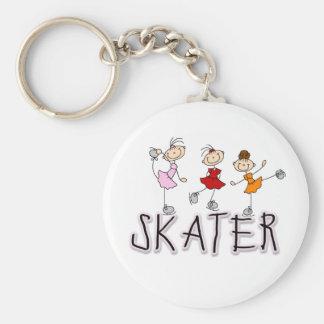 Skater Girl Basic Round Button Keychain