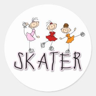 Skater Girl Stick Figures Sticker