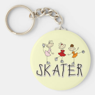 Skater Girl T-shirts and Gifts Basic Round Button Keychain