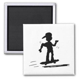 Skater Kid - nd 2 Inch Square Magnet