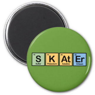 Skater made of Elements 2 Inch Round Magnet
