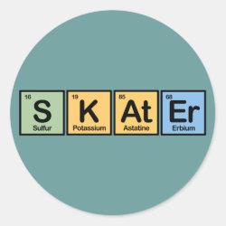 Round Sticker with Skater design