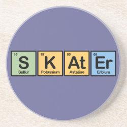 Sandstone Drink Coaster with Skater design