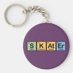Basic Button Keychain with Skater design