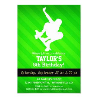 Skater; Neon Green Stripes 5x7 Paper Invitation Card