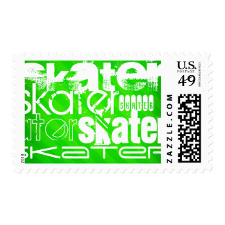 Skater; Neon Green Stripes Postage Stamp