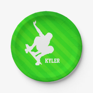 Skater; Neon Green Stripes 7 Inch Paper Plate