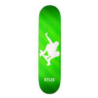 Skater; Neon Green Stripes Skateboard