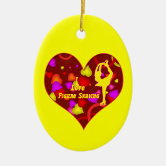 Skater Ornament- Oval-Heart ,Yellow Ceramic Ornament