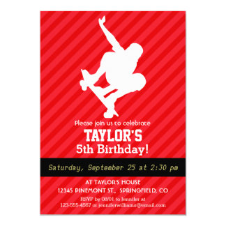 Skater; Rayas del rojo del escarlata Invitación 12,7 X 17,8 Cm