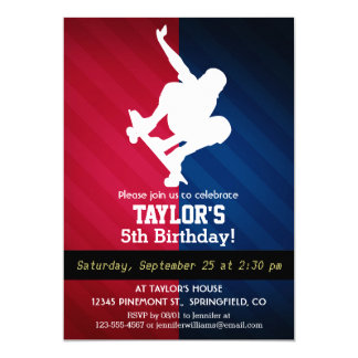 Skater; Red, White, and Blue 5x7 Paper Invitation Card