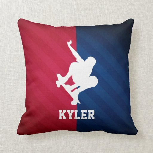 Skater red white and blue pillow zazzle for Red and blue pillows