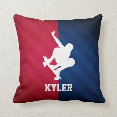 Skater; Red, White, and Blue Throw Pillows
