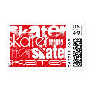 Skater; Scarlet Red Stripes Postage Stamp