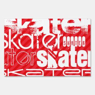 Skater; Scarlet Red Stripes Sign