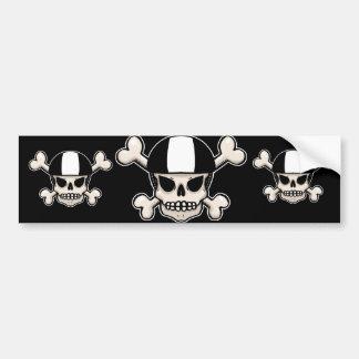 Skater skull and crossbones bumper sticker