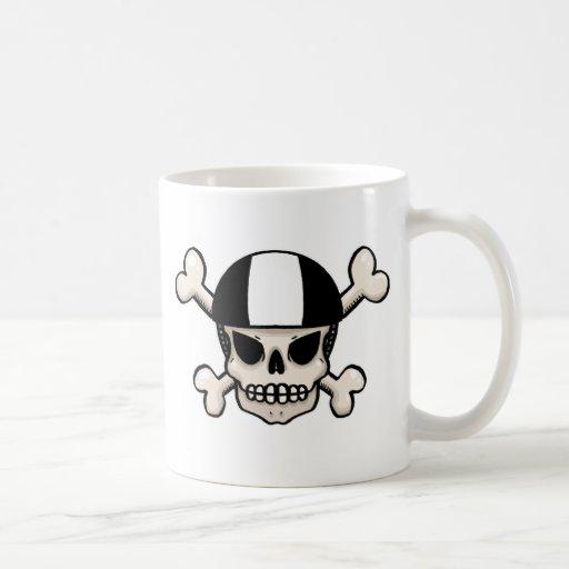 Skater skull and crossbones coffee mugs