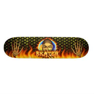 Skater skull real fire and flames skateboard desig
