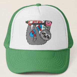 Skater Sloth loves donut Trucker Hat ec55130973f9