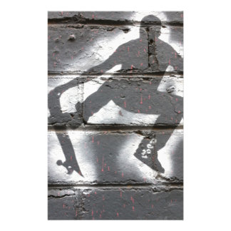 Skater Stencil wall art in greys and white Personalized Stationery