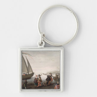 Skaters and a golf party on the ice keychain